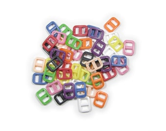 """25 Wide-Mouth Triglides, 3/8"""" (10mm) Ten Colors to Choose From.  Plastic."""