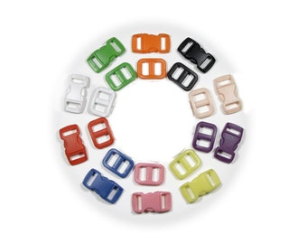 "10 SAFETY Buckles with Matching Triglides  3/8"" (10mm)  - Ten Colors to Choose From"
