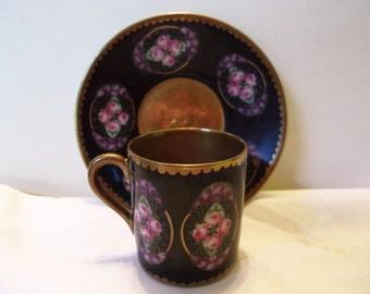 Beyer & Bock Demitasse Tea Cup Saucer Vintage Pink Rose Flowers Black Gold Porcelain 1905 Germany
