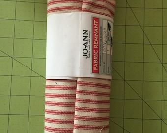 Destash red ticking fabric