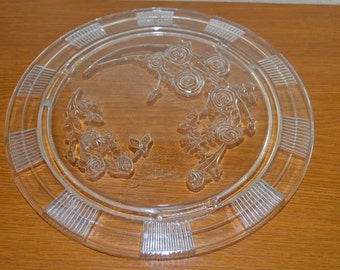 Sharon Cabbage Rose Cake Plate by Federal Glass