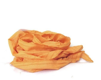 Linen Scarf in Orange Saffron Ruffle Scarf.. Rustic Scarf, Shabby chic Linen Thin Fabric Scarves