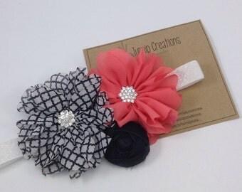 Coral & Black Headband Quatrefoil Ballerina Flower Headband Rolled Flower Shabby Headband Newborn Headband Girls Headband M2M
