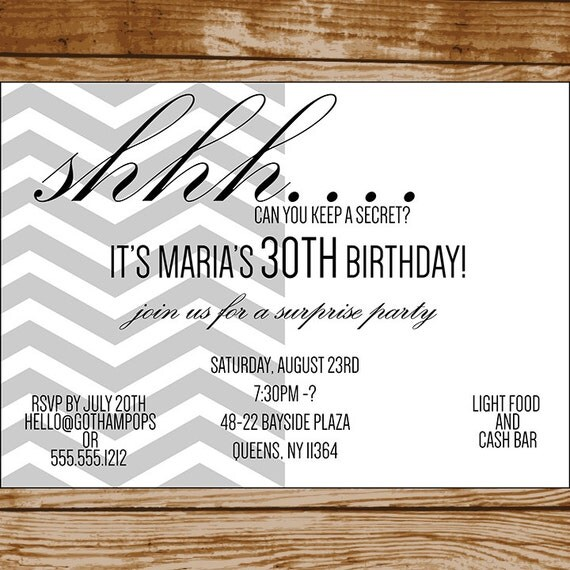 Chevron Surprise Birthday Invitation Digital File Husband