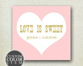 24 - Personalized Labels - Sweet Heart Design 3.5 X 3.5 inch - ANY COLOR - wedding labels, favor labels, adhesive labels, custom labels