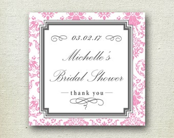 24 - Personalized Labels - Damask Design 3.5 X 3.5 inch - ANY COLOR - wedding labels, favor labels, adhesive labels, custom labels