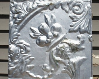 "Antique Ceiling Tile - 12"" x 12"" - Distressed Silver Colored Paint -- Beautiful Flower Design"