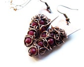 Burgundy Red Earrings, Wire Wrapped Copper Jade Earrings, Retro Long Boho Earrings