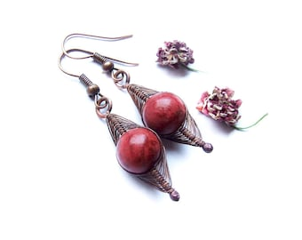 Red Coral Earrings, Wire Wrapped Red Coral Dangle Earrings, Coral Jewelry