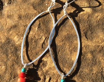 Hammered Silver Hoop Earrings Coral,Red,Turquoise