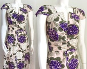 vintage 30s dress watercolor floral handmade small