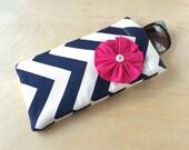 Pinch top fabric sunglass case, sunglass pouch, eyeglass case - Navy Chevron