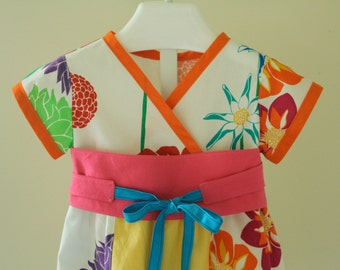 Bright and Fun Floral Kimono Dress Ready to Ship in Size 2T. Hot Pink Obi Sash. Twirl Skirt. Asian Inspired