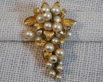 Kramer Gold Tone and Faux Pearl Dangle Grapes with Leaves Brooch