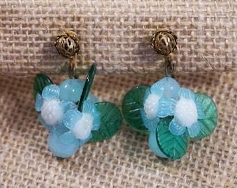 Signed Miriam Haskell 1940's Designer Frank Hess Light Blue, White and Green Molded Glass Flower Leaf Dangle Earrings