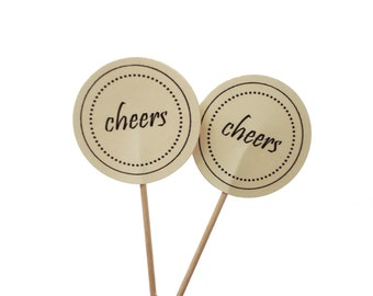 10 Cheers Cupcake Toppers, Wedding Decorations - No1104
