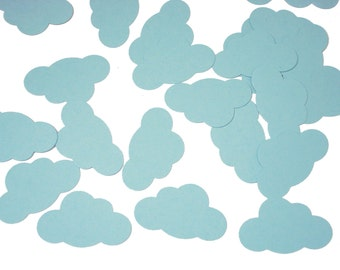 50 Baby Blue Cloud Confetti, Up up and Away Party Decorations - No1111