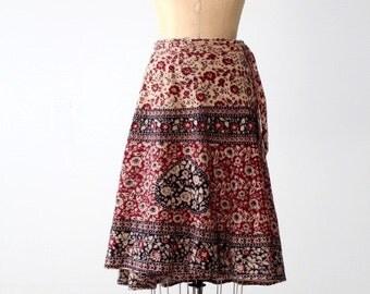 vintage 70s India cotton wrap skirt, block print skirt