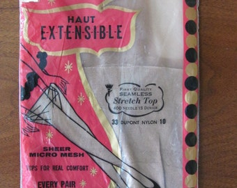 Vintage 60's First Quality Seamless Stretch Top Nylons - size 10 - Stockings - Nylons - Panty Hose - Women - Accessories