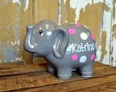 GREY Large Ceramic Elephant (Piggy) Bank - Personalized