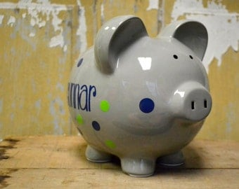 Gray Large Ceramic Piggy Bank - Personalized