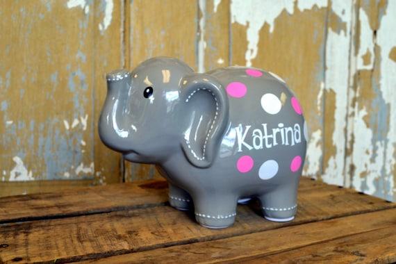 Grey large ceramic elephant piggy bank personalized - Ceramic elephant piggy bank ...