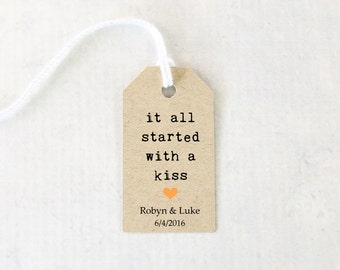 It All Started With A Kiss Tag, Wedding Favor Tag, Chocolate Kiss Tag, Engagement Party Favors  - Set of 25 (SMGT- KTP)
