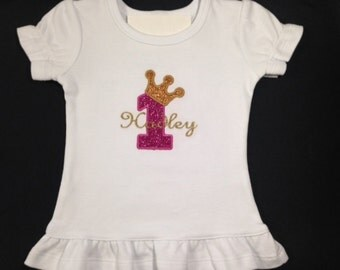 Monogrammed 1st Birthday Ruffled T-Shirt or Bodysuit with Gold Vinyl Glitter and Princess Crown