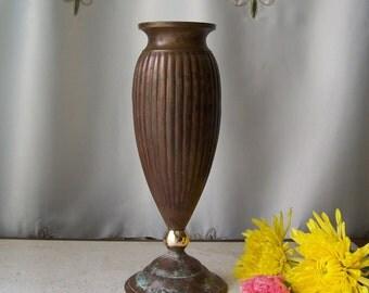 Vintage Bronze Vase Artisan Crafting Flower Vase Art Deco Design Vintage 1970s