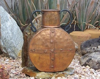 Vintage Decorative Hammered Copper Water Vessel Copper Water Jug Mission Style Jug Dovetail Folded Seams circa 1940s