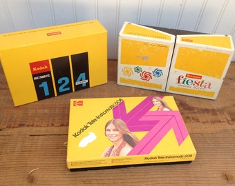 Kodak Instamatic 124,Tele-Instamatic 608, and Brownie Fiesta Camera's - Vintage Kodak Camera's