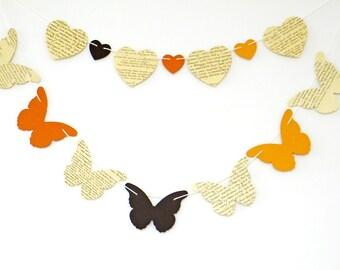 Autumn Butterflies Bunting, butterflies garland, heart garland, Fall Decor, Autumn Decor, banner, eco-friendly, fall color