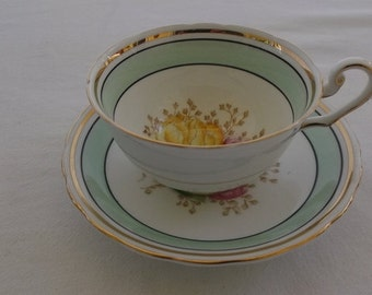 Vintage Tea Cup and Saucer, C & E Bone China, Victoria, Green Band with Yellow and Pink Floral