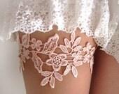 Pink Blush Coral Salmon Lace Garter Set Bridal Garter Wedding Garter Belt Bridal Garters Lace Romantic Garter : EMIRA Lace Garter