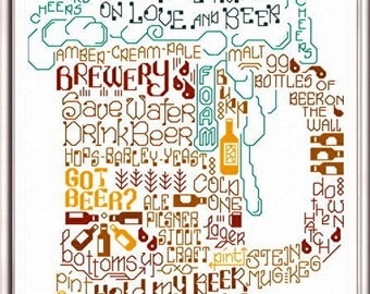 LET'S DRINK BEER - Imaginating Cross Stitch Pattern - Beer Mug Glass Brewery counted cross stitch pattern chart, beer cross stitch