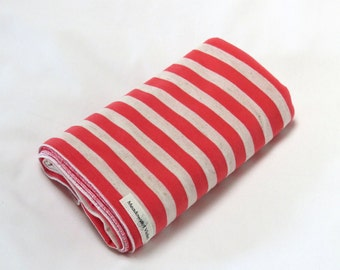 Large Cotton Jersey Knit Baby Swaddle/Receiving Blanket - Girl - Hot Coral/Oatmeal Stripe