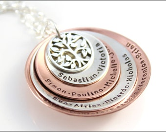 Four Disc Stacked Necklace with Tree of Life Charm | Sterling Silver and Copper | Personalized Grandma Necklace