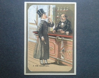 A Gin Cocktail Blank Stock Trade Card 1883