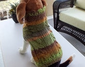 "Dog Sweater SALE Double Cable Dakota Medium 15"" inches long Wool"