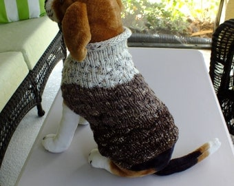 "Dog Sweater Chocolate Chip No 1 Medium 14""  long  Merino Wool"