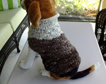 """Dog Sweater Chocolate Chip No 1 Medium 14""""  long  Merino Wool"""