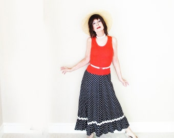 Vintage 1960s Mod Maxi Dress - 60s Long Summer Dress with Stars - Tank Top & Skinny Belt