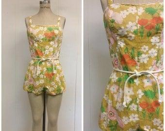 1960s Bathing Suit 60s Mod Floral Romper