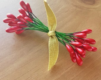 Red Holly Berries, Pip Flowers, Wired Millinery Flower Stamen, Christmas Pip Berries, 24 Double Tipped Pieces