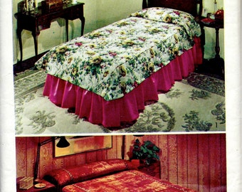 1970's Simplicity Pattern No. 5609 : Throw Style Bedspread , Coverlet and Dust Ruffle for Twin , Full and Queen Beds