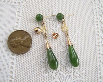 vintage 14K gold Nephrite Jade  Dangle Earrings with fortune Chinese characters