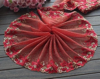 2 Yards Lace Trim Red Floral Embroidered Tulle Lace Trim 8.66 Inches Wide High Quality