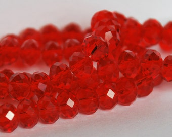 20 pcs 8x6mm Transparent Red Rondelle Faceted Glass Beads