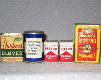 Lot of 5 Vintage Spice Tin Box - Schilling Durkees Steero Keens Mustard Atlas Boric Acid Cloves Bouillon Cubes
