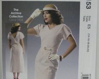1933 Retro Style Day Dress Pattern, Uncut, Archive Collection Mc Calls 7153, Day Dress Pattern, Women's SZ 14 through 22